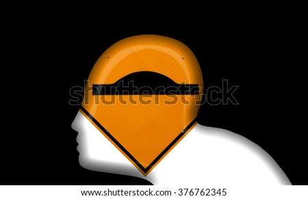 Silhouette outline of a man's head with a speed bump road sign for the concept of slow down for a person with learning disability. - stock photo