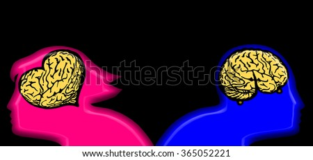 Silhouette outline of a woman with heart shaped brain and and a man's head with a breast shaped brain for the concept of woman vs man mind. - stock photo
