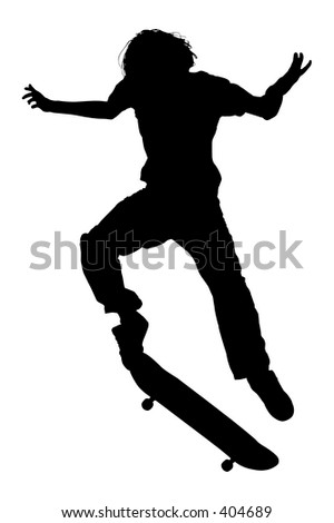 Silhouette over white with clipping path. Teen Boy On Skateboard Jumping. - stock photo
