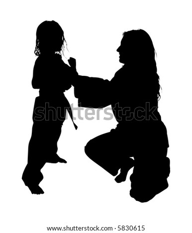 Silhouette over white with clipping path. Woman helping girl with martial arts. - stock photo