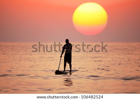 Silhouette paddle board surfer on the sunset background