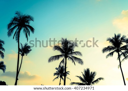 Silhouette palm tree on the beach and sea - Vintage Filter and Boost up color Processing - stock photo