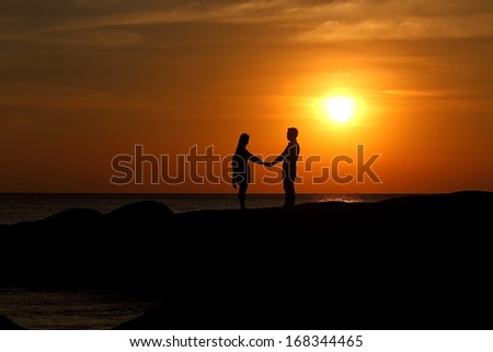 Silhouette people - stock photo
