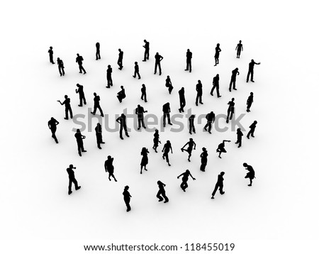 silhouette people bird eye view - stock photo