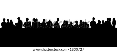silhouette - people in line