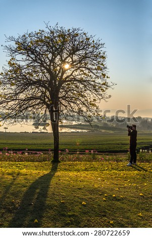 Silhouette photo of photographer - stock photo