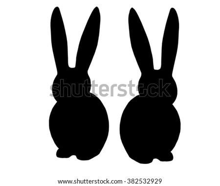 Silhouette Rabbit White background. Easter icon Memorial day meaning abstract art advertise  - stock photo