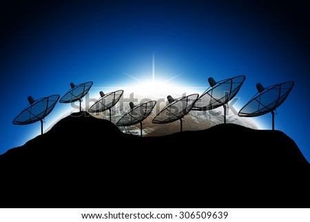 Silhouette  Satellite dish on earth background,, Elements of image are furnished by NASA - stock photo