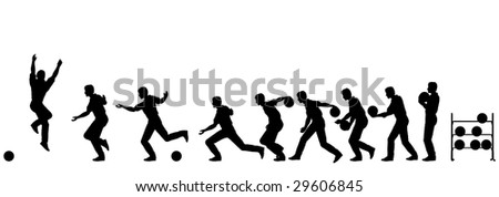 Silhouette sequence of a man bowling. Editable vector file (.eps) also available.