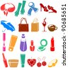 Silhouette set of different woman's things. Raster version. - stock vector