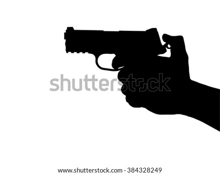 silhouette shooting a gun isolated.