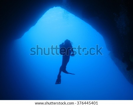 Silhouette shot of a diver at an entrance to a cavern on Malta.
