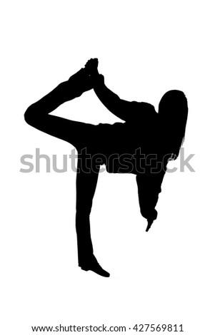 Silhouette shot of a Girl Dancing - stock photo