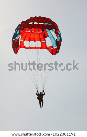 Silhouette skyer under the canopy of a round sports parachute against the sky close-  sc 1 st  Shutterstock & White Parachute Canopy On Blue Sky Stock Photo 470517395 ...