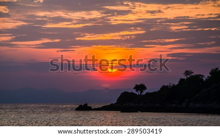 silhouette sunrise sky at Koh Lipe island, Thailand. - stock photo