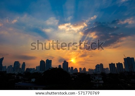 Silhouette sunset in the city