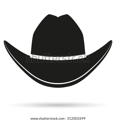 Silhouette symbol of cowboy hat traditional symbol. Simple Illustration Isolated on white background.