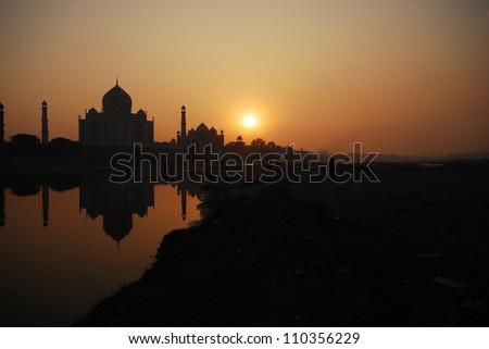 Silhouette Taj Mahal  india - stock photo