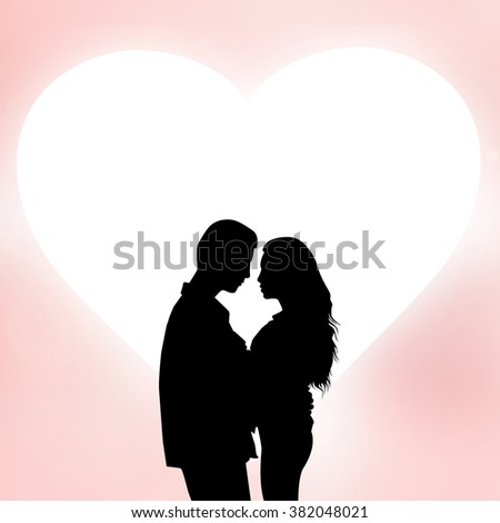 silhouette teenager lovers couple over heart shape pink background:black shadow loving people hug and kiss:love and valentines concept:matrimonial/amour/affection/wedding/anniversary:square frame - stock photo