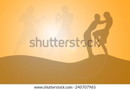 silhouette Thai boxing - stock photo