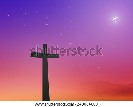 Silhouette the cross over a night background. - stock photo