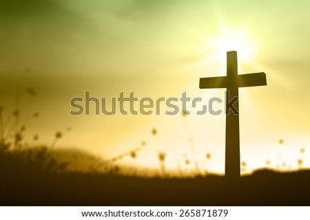 Silhouette the cross over blurred sunset background. Thanksgiving, Christmas background, Forgiveness, Mercy, Humble, Repentance, Reconcile, Adoration, Glorify,  Evangelical concept. - stock photo