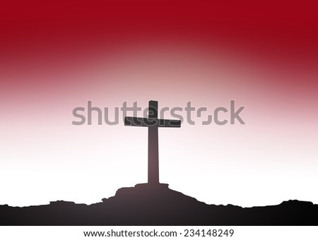 Silhouette the cross over blurred sunset background. Thanksgiving Christmas Forgiveness Mercy Repentance Reconcile Glorify Evangelical. - stock photo