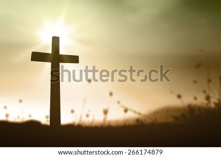 Silhouette the cross over blurred sunset background. Thanksgiving, Christmas, Forgiveness, Mercy, Humble, Repentance, Reconcile, Adoration, Glorify concept. - stock photo