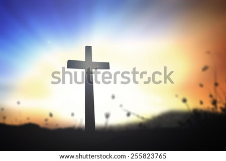 Silhouette the cross over blurred sunset background. Thanksgiving, Worship, Forgiveness, Christmas, Mercy, Humble, Repentance, Reconcile, Adoration, Glorify, Redeemer concept. - stock photo