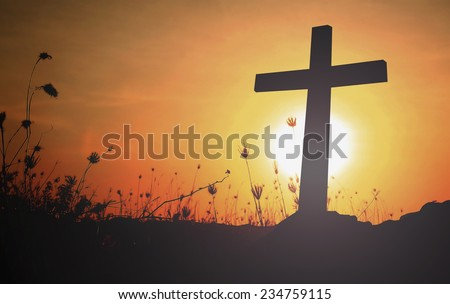 Silhouette the cross with blurred beautiful autumn sunset background. Thanksgiving, Christmas background, Worship, Forgiveness, Mercy, Humble, Repentance, Reconcile, Adoration, Glorify concept. - stock photo