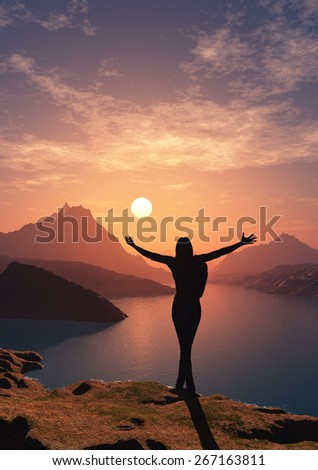 Silhouette the woman on a background of the sea - stock photo