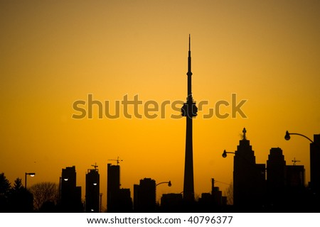 silhouette toronto tower cn urban landscape - stock photo