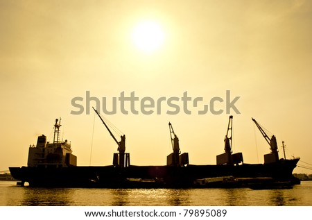 Silhouette  Transport Boat - stock photo