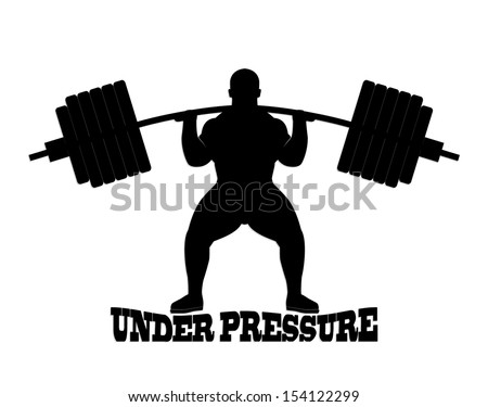 silhouette weight lifter/ under pressure theme/ illustration - stock photo