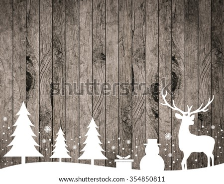 silhouette white reindeer,tree,snowman,snowflake,gift on rustic wood stripe panels vertical background for decorate:xmas wooden backdrop design:merry Christmas festive and new year wallpaper concept. - stock photo