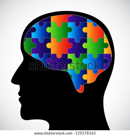 Silhouette with brain. Raster version of the loaded vector - stock photo