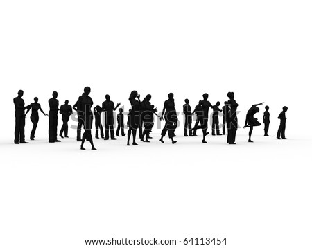 Silhouette: woman, man, children in various position - stock photo