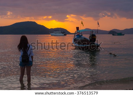 silhouette woman With on The sunset time. - stock photo