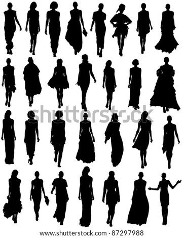silhouette women models set on a white background - stock photo