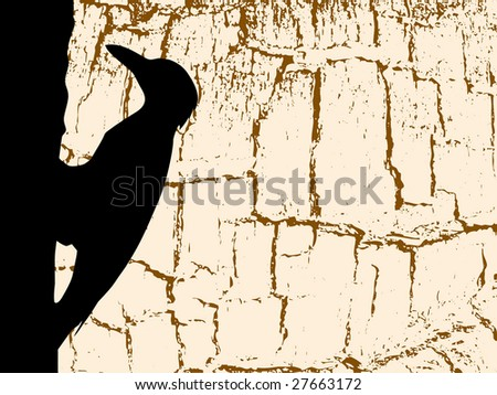 silhouette woodpecker on wood background - stock photo