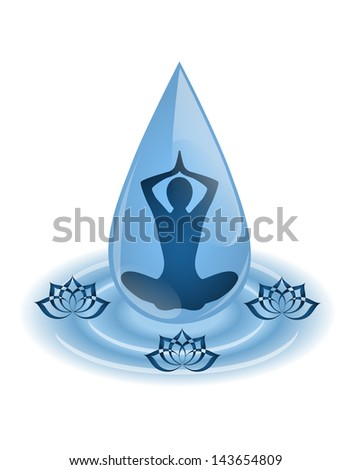 silhouette yoga sitting inside the droplet surrounded by lotus flowers - stock photo