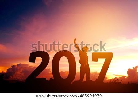 Silhouette young man Happy for 2017 new year