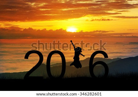 Silhouette young woman jumping on the hill and 2016 years while celebrating new year - stock photo