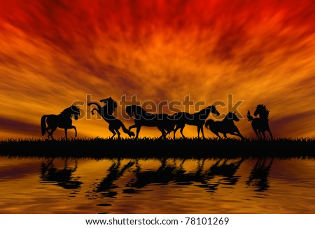 silhouetted horses on sunset