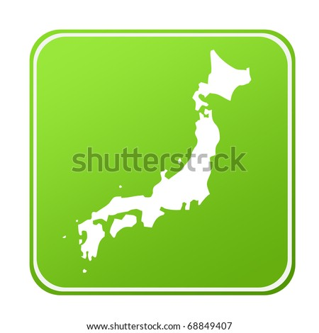 Silhouetted map of Japan on green eco button, isolated on white background. - stock photo