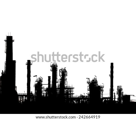 Silhouetted of oil refinery