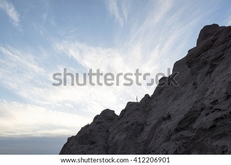 Silhouetted saguaro cactus on a ridge against a susnset. Saguaro Cactus is found only in Arizona, Southeastern California and Mexico. The saguaro cactus is the trademark for Southwest. - stock photo