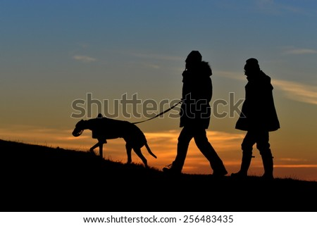 Silhouetted View of People Walking a Dog on a Hill against a Sky at Sunset - stock photo