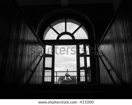 silhouetted window at Boldt Castle - stock photo