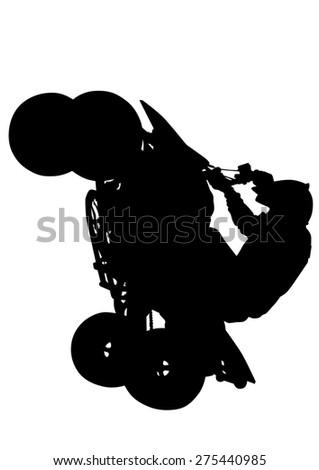 Silhouettes athletes ATV during races on white background - stock photo